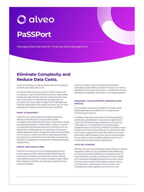 Showing the front page of PaSSPort Datasheet